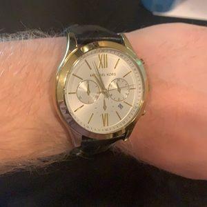 Men's Michael Kors Black Leather Gold Case Watch